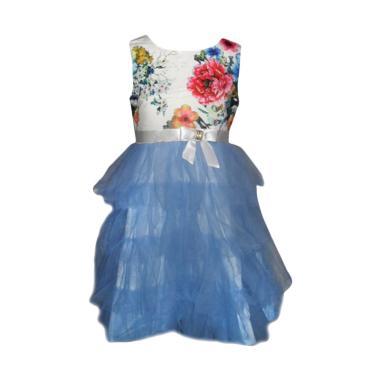 VERINA BABY Tutu Motif Flowers Dress Pesta Anak - Biru