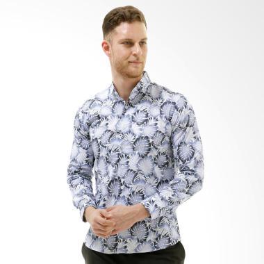 VM Modern Slimfit Kemeja Batik Lengan Panjang Pria - Putih
