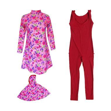 Rainy Collections Motif Bunga Daun  ...  Anak Muslim Syari - Pink
