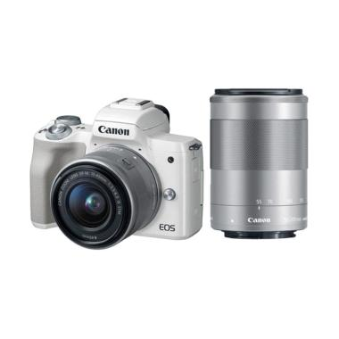 Canon EOS M50 Kit 15-45mm Kamera Mirrorless - White + Lensa 55-200mm