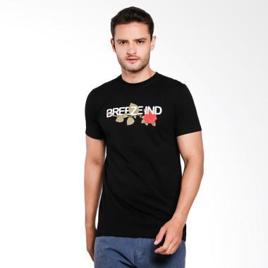 Breeze Industries Kaos Distro A flower T-Shirt Pria - Black