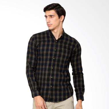 MENTLI Jesse Flannel Shirt Kemeja Pria - Hitam
