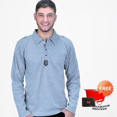 Azzurra Kaos Pria - Grey [348-66] + Free Bag Pouch or Dompet Kartu