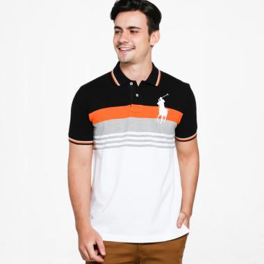 POLO RALPH LAUREN Stripe Custom Fit Polo Shirt Pria - WHT-BLK-R.ORG-M.71 [PX1400033]