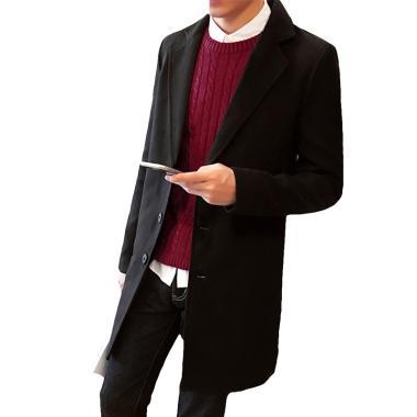 harga Bluelans Fashion Men Solid Color Autumn Winter Coat Trench Jacket Long Parka Overcoat Blibli.com