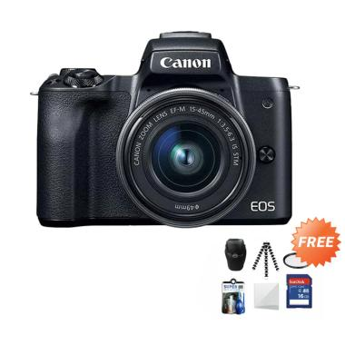 harga Canon EOS M50 Kit 15-45 mm Kamera Mirrorless + Free Screenguard Terpasang + SDHC 16GB + Tas Universal + Gorillapod + Filter + Cleaning Kit Blibli.com