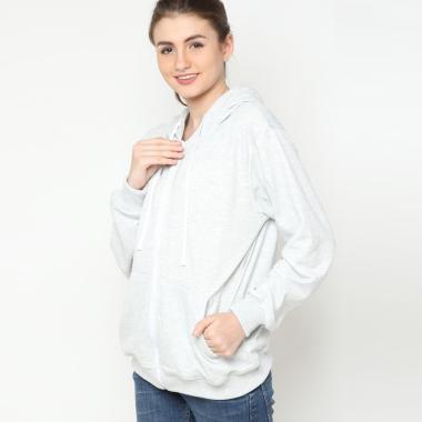 Hoodieku Zipper Basic Jacket Wanita - Abu Terang