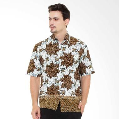 Hokokay Hem Katun Araya Kemeja Batik Pria - Kuning