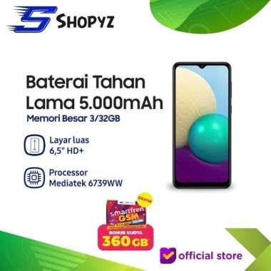 SAMSUNG GALAXY A02 - 5000mAh Battery - 3GB 32GB 3/32 - Garansi Resmi Hitam