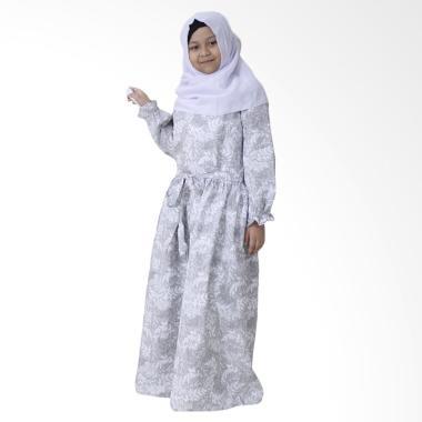 Aisyah Kirana Allura Hijab Gamis Anak - Grey White