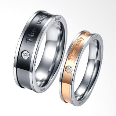 CDHJewelry CC005 Cincin Couple Titanium Anti Karat [Female 5 & Male 9]