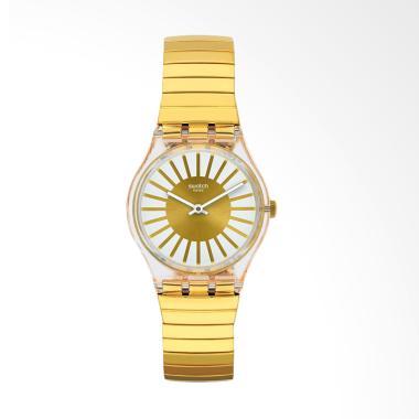 Swatch GE248B Rayon De Soleil S Bahan Tali Stainless Steel Jam Tangan Wanita - Gold