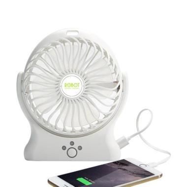 ROBOT RT-BF06 Portable Battery Fan & Powerbank - Putih [2000 mAh]