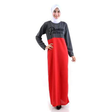 Jfashion Dress Kombinasi Warna Plus ... Panjang - Premium Abu tua