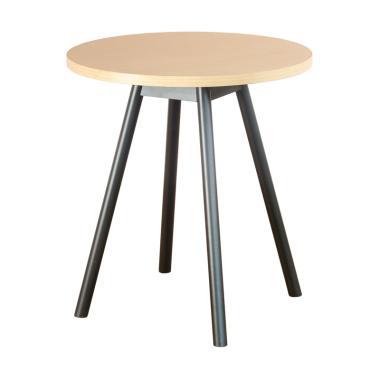 Oscar Furniture Torino Hitam Meja Makan Bulat - Maple