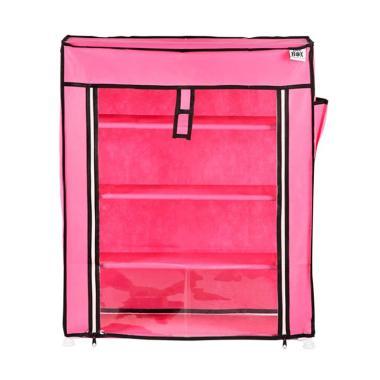 Nine box M4 Rak sepatu 4 Susun Transparan - Pink