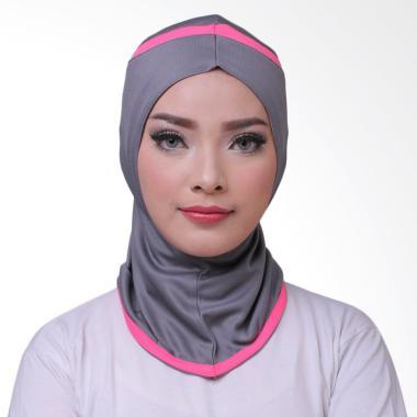 ATTIQAHIJAB Fitness Short Sport Hijab Instant - Grey List Pink