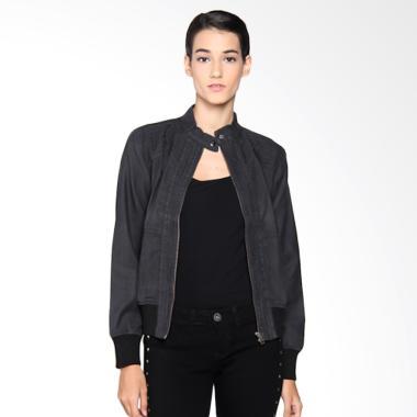Mobile Power C7601 Ladies Denim Stitch Variation Jacket Wanita - Black