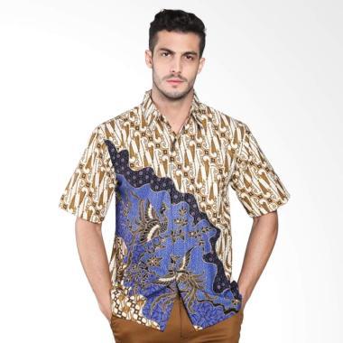 Batik Distro Parang Gambar Kemeja Pria - Biru K7935