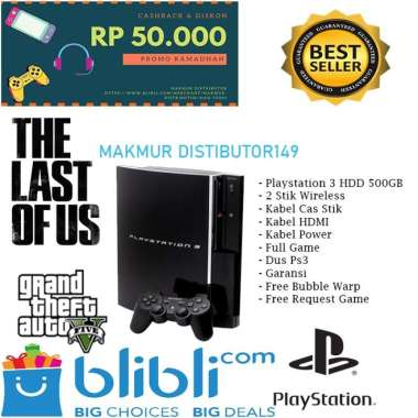 harga PLAYSTATION PS 3 FAT [ HDD 500GB ] FULL GAME + FREE 2 STIK WIRELLES Blibli.com