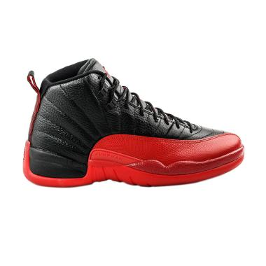 NIKE Men Air Jordan 12 Flu Game Sep ... ia - Black Red 130690-002