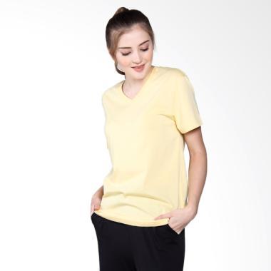 Giordano V-neck Jersey tee Primrose Atasan Wanita - Soft Yellow