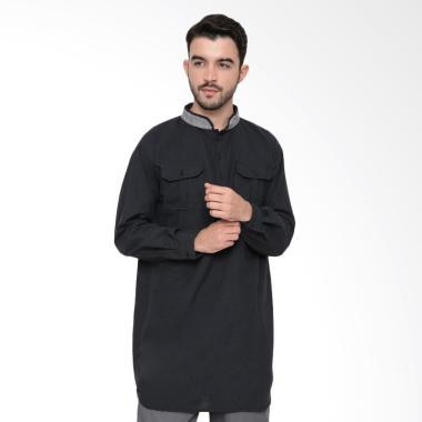 Zayidan Baju Muslim Gamis Hamzah Pria  - Hitam