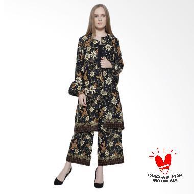 Flike Store Set Long Coat Setelan Batik Wanita - Black Alysa