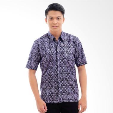 CANNICE Praday Kemeja Lengan Pendek Batik Pria - Ungu