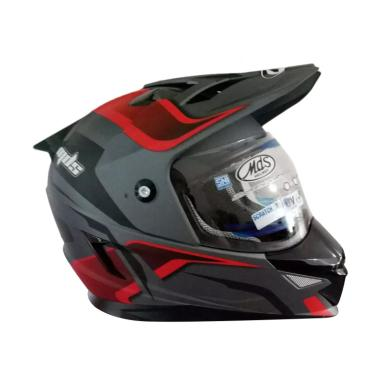 harga MDS Super Pro Motif-2 Helm Full Face - Gunmetal Doff Red Blibli.com