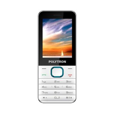 Polytron C201 Handphone - White Blue [Dual SIM/ Camera/ Candybar]