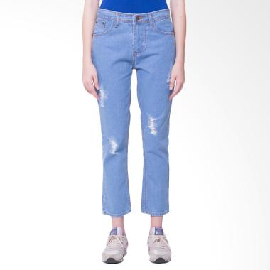 Nuber Easter Ripped Jeans Non Stretch Celana Wanita - Blue