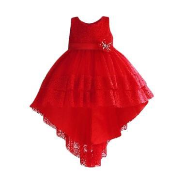 VERINA BABY Zoe Lace Dress Pesta Anak - Merah