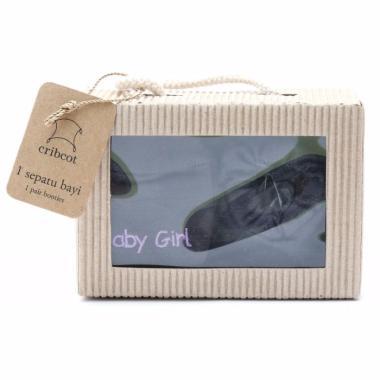 Cribcot Booties Plain Dark Grey & M ... Dark Grey Purple Gift Set