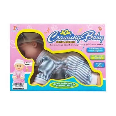 MOMO 666-1 Crawling Baby Music And Dancing Boneka Baju - Biru