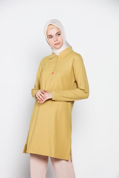 Dauky Long Polo Shirt Atasan Muslim - Olive 316
