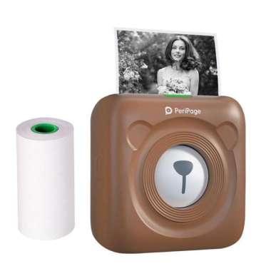 harga PeriPage Mini Pocket Wireless BT Thermal Printer Picture Photo Label Memo Receipt Paper coklat Blibli.com