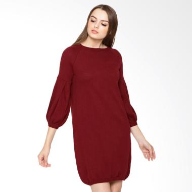 Veyl Agatha Knitted Mini Dress Wanita - Maroon