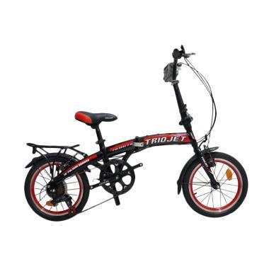Triojet Folding Bike Sepeda Lipat - Black Red [16 Inch]