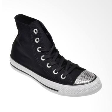 Converse 555814C CTAS HI Chuck Tayl ... atu Wanita - Black Silver