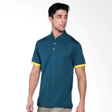 Svingolf Grid Golf Polo Shirt Pria - Indigo Yellow