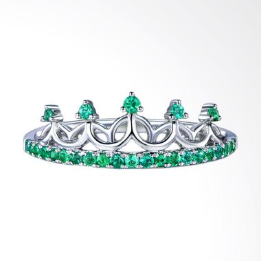 Tiaria Crown Emerald Perhiasan Emas Cincin [18K]