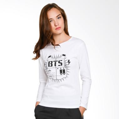 JCLOTHES Kaos Lengan Panjang Wanita BTS - Putih