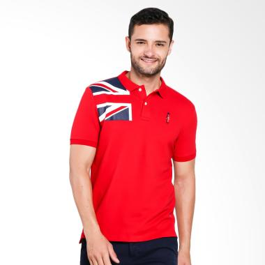 Giordano Union Jack Embroidery Polo Shirt Pria - Red [0101732283]