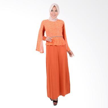 Jfashion Raidah Maxi Tangan Panjang Kombinasi Gamis - Orange
