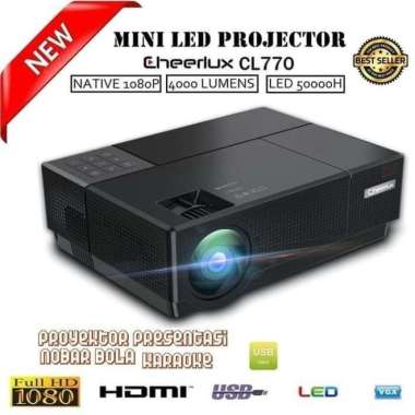 harga Cheerlux CL770 TV Tunnel Projector LED - Home Entertainment Projector hitam Blibli.com