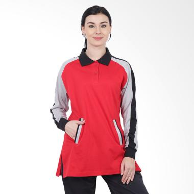Brica Lengan Panjang Kombinasi Polo Shirt Wanita ... 1eadb5af41