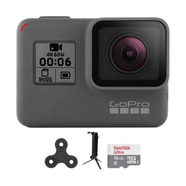 GoPro Hero 6 Combo 3 Way Supreme Spin Action Cam - Black [16 GB]
