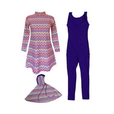 Rainy Collections Motif Zig-Zag Baju Renang Anak Muslim Syari - Pink