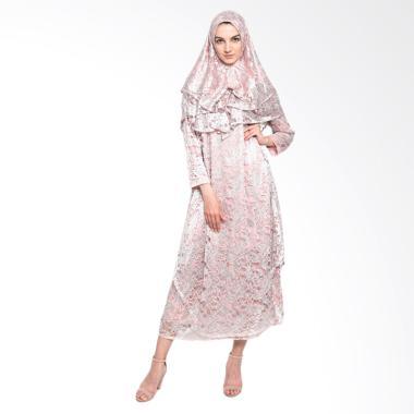Kasa Heritage Nurmala Long Dress Gamis Wanita - Pink Silver
